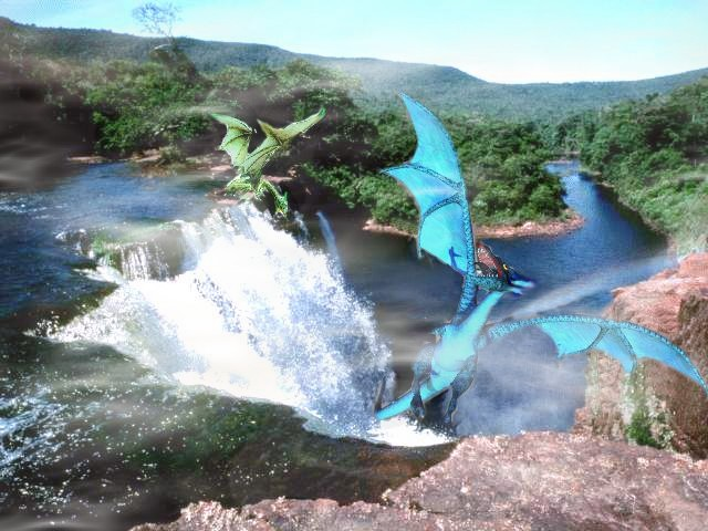 Blue and green dragon fighting Threadfall together