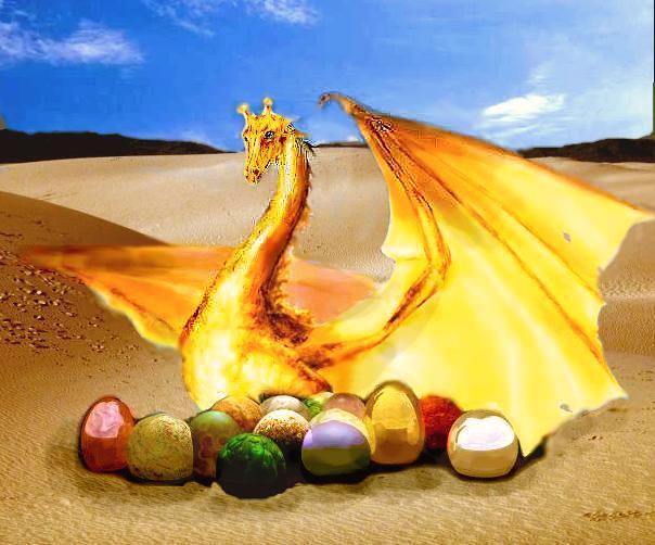 Gold mother dragon guarding eggs