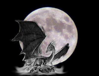 White dragon against moon